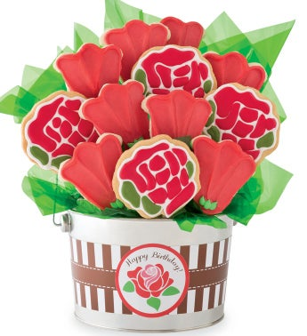 Happy Birthday Rose Cookie Flower Pot