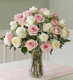 Two Dozen Long Stem Pink & White Roses