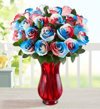 Kaleidoscope Roses Red White  Blue