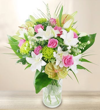 Premium Pink  White Flowers Bouquet