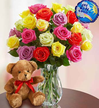 Get Well Soon Assorted Roses: 12-24 Stems