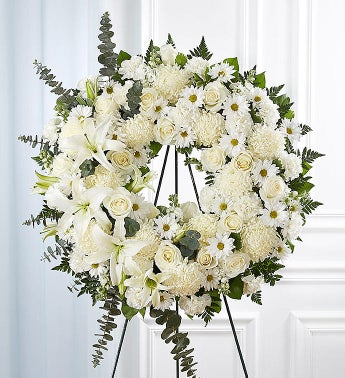 Serene Blessings Standing Wreath- White