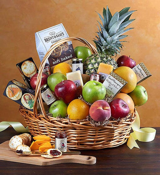 Deluxe Fruit & Gourmet Basket for Sympathy