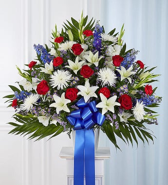 Heartfelt Sympathies Red White and Blue Standing Basket