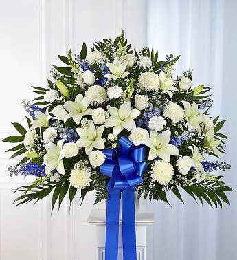 Heartfelt Sympathies™ Standing Basket- Blue & White