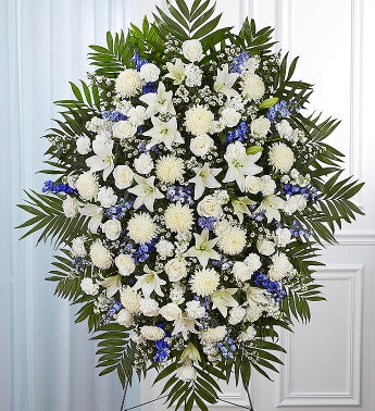 Blue  White Sympathy Standing Spray