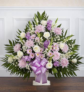 Heartfelt Tribute™ Floor Basket- Lavender & White