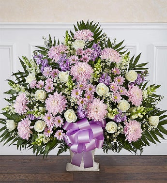 Heartfelt Tribute Floor Basket- Lavender  White