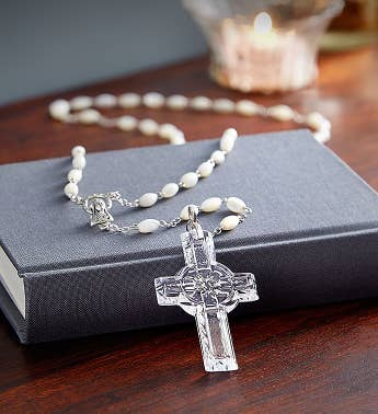 Waterford Mother-of-Pearl and Crystal Rosary