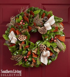 Southern Living™ Preserved Magnolia Holiday Wreath