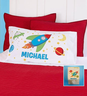 Personalized Rocket Ship Pillowcase  Nightlight