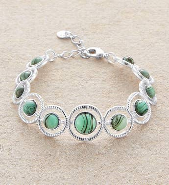Matte Silver Bracelet With Aqua Stones by Bayberry Road