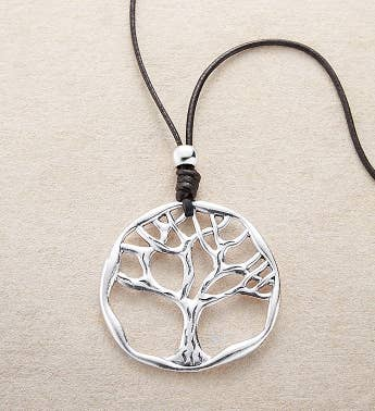Silver Tree of Life Medallion Necklace by Bayberry Road