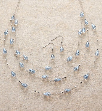 Silver Wire  Lavender Beaded Necklace and Earring Set by Bayberry Road