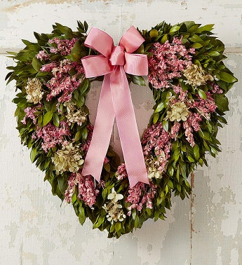 Preserved Pink Hydrangea Heart Wreath