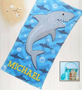 Personalized Shark Towel  Sand Memories Kit