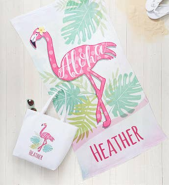 Personalized Flamingo Towel  Tote