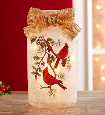 Cardinal Light Up Mason Jar