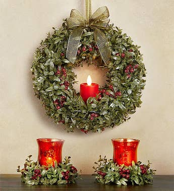 Kissing Krystals Light Up Wreath And Votive Holder Pair