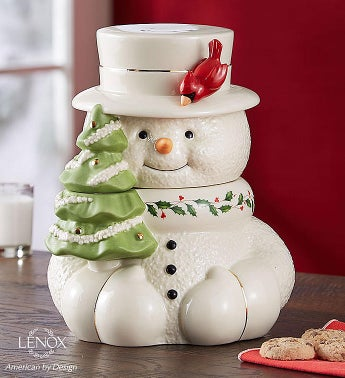 Lenox Happy Holly Days Snowman Cookie Jar