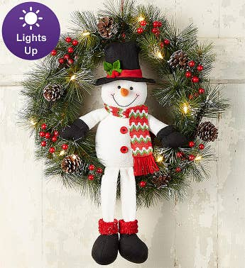 Keepsake Snowman Wreath With Led Lights - 22