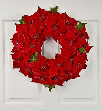 Glistening Poinsettia Wreath-20