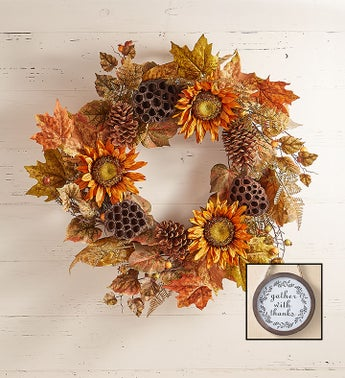 Sunflower Lotus Pod Wreath  Centerpiece-24