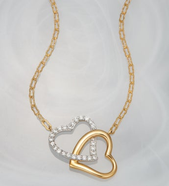 Crislu Double Heart Necklace
