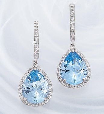 Crislu Blue Quartz Drop Earrings