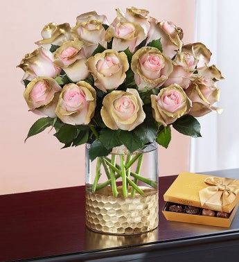 Be Mine Pink and Gold Roses