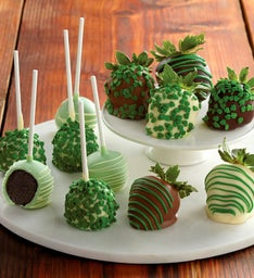 St. Patrick's Day Chocolate-Covered Strawberries and Cake Pops