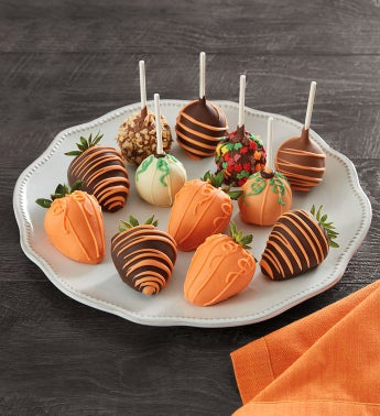 Pumpkin Patchtrade Dipped Strawberries and Cake Pops