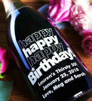 Triple Happy Birthday Personalized Wine Bottle