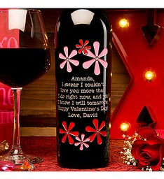 Valentine Flowers Personalized Wine Bottle