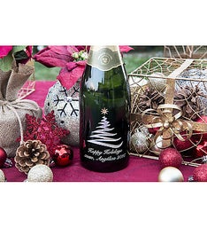 Swirly Tree Personalized Wine Bottle