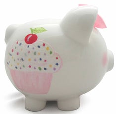 Personalized Hand-Painted Sprinkle Cupcake Piggy Bank