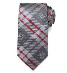 Darth Vader Grey Plaid Mens Tie