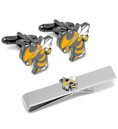 Georgia Tech Yellow Jackets Cufflinks and Tie Bar Gift Set