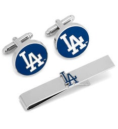 LA Dodgers Cufflinks and Tie Bar Gift Set