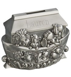 Personalized Noah's Ark Metal Bank