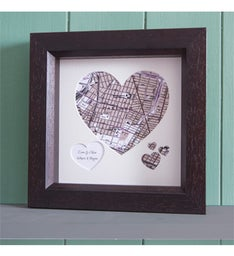 Personalized Heart Shaped Framed Map
