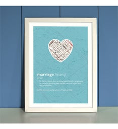 Personalized Marriage Framed Print In Blue