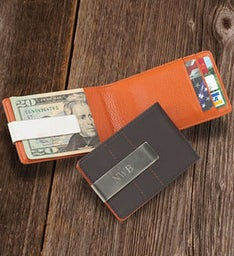 Personalized Leather Wallet/Money Clip