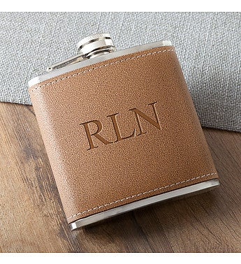 Personalized Tan Hide-Stitch Flask