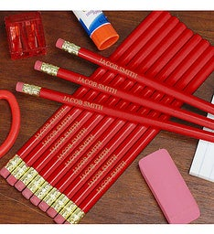 Personalized Red School Pencils