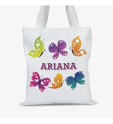 Personalized Butterfly Kids Tote Bag
