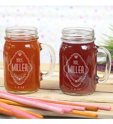 Personalized Couples Mr. & Mrs. Mason Jars