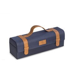 Blue Ballistic Nylon  Brown Leatherette Bottle Caddy