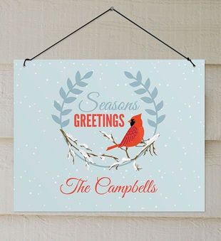 Personalized Seasons Greetings Cardinal Wall Sign