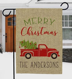 Personalized Merry Christmas Red Truck Garden Flag